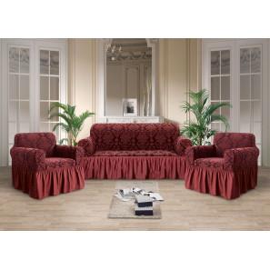 "Чехол на диван и 2 кресла жаккард ""Бордо"""