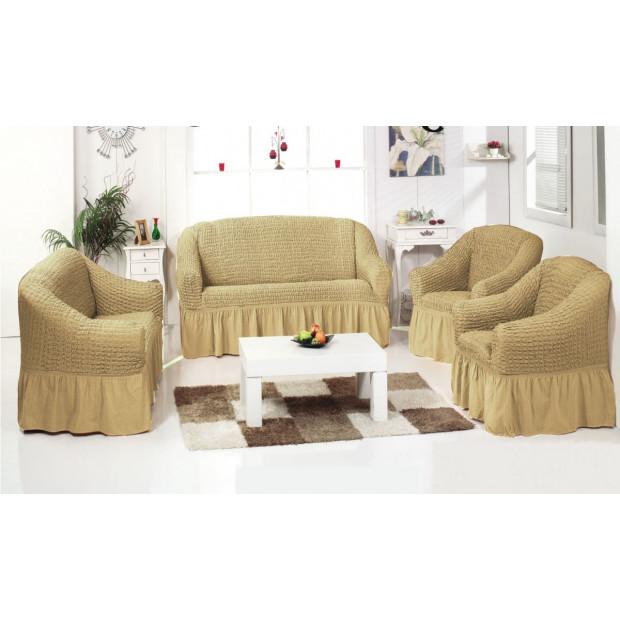 """Чехол на диван и 2 кресла """"Бежевый №212"""""""