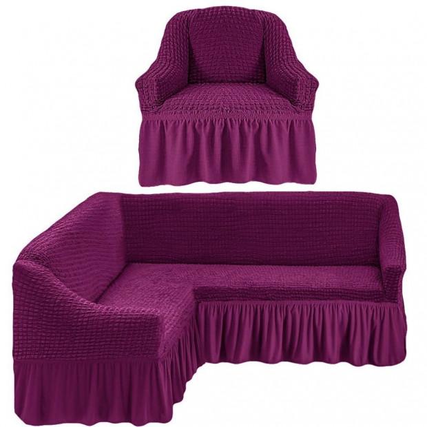 """Чехол на угловой диван + 1 кресла """"Фиолетовый"""""""