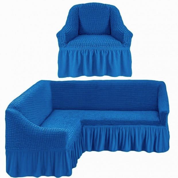 "Чехол на угловой диван + 1 кресла ""Синий"""