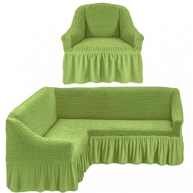 """Чехол на угловой диван + 1 кресла """"Зеленый"""""""