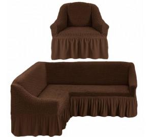 "Чехол на угловой диван + 1 кресла ""Шоколад"""
