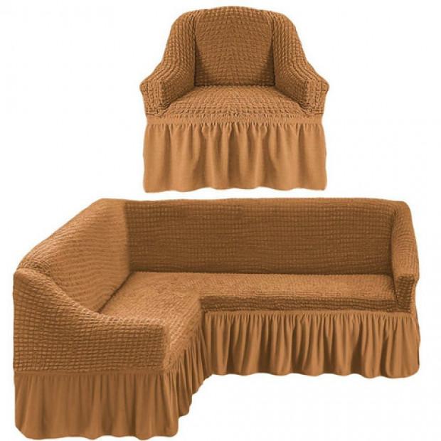 """Чехол на угловой диван + 1 кресла """"Коричневый"""""""