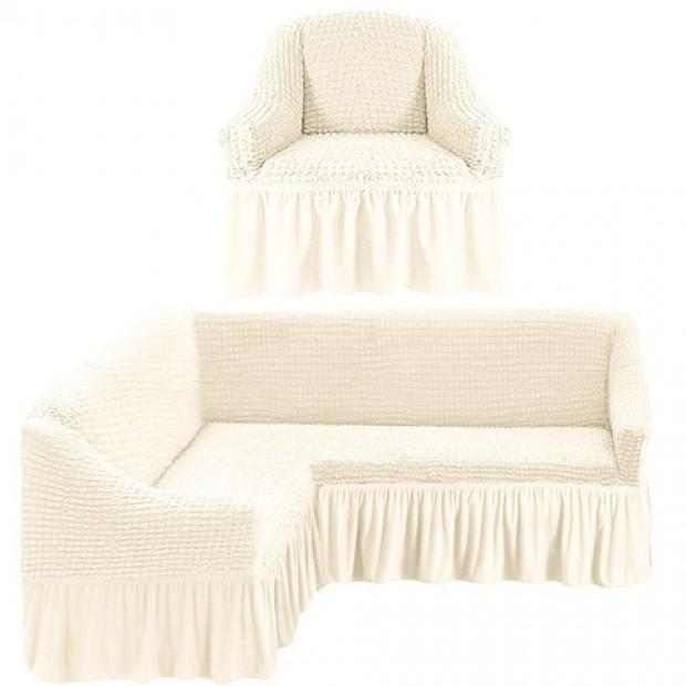 """Чехол на угловой диван + 1 кресла """"Шампань"""""""
