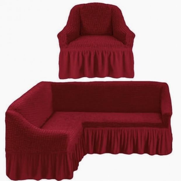 "Чехол на угловой диван + 1 кресла ""Бордо"""