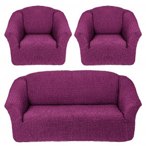 """Чехол на диван и 2 кресла без оборки """"Фиолетовый"""""""