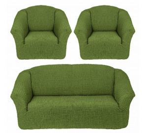 """Чехол на диван и 2 кресла без оборки """"Зеленый"""""""