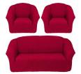 "Чехол на диван и 2 кресла без оборки ""Бордо"" - small"