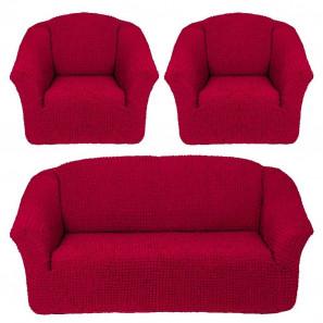 """Чехол на диван и 2 кресла без оборки """"Бордо"""""""