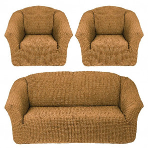 """Чехол на диван и 2 кресла без оборки """"Горчичный"""""""