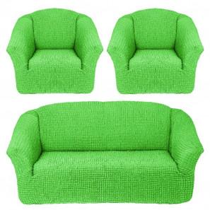 """Чехол на диван и 2 кресла без оборки """"Салатовый"""""""