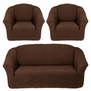 "Чехол на диван и 2 кресла без оборки ""Шоколад"""