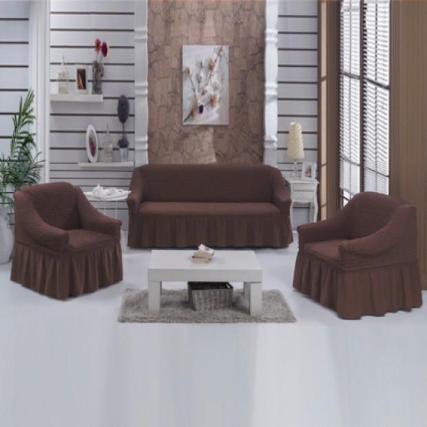 """Чехол на диван и 2 кресла """"Шоколад №201"""""""