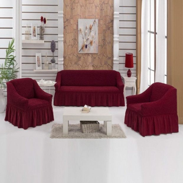 """Чехол на диван и 2 кресла """"Бордовый №221"""""""