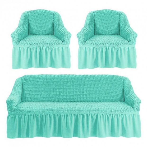 """Чехол на диван и 2 кресла """"Бирюзовый №218"""""""