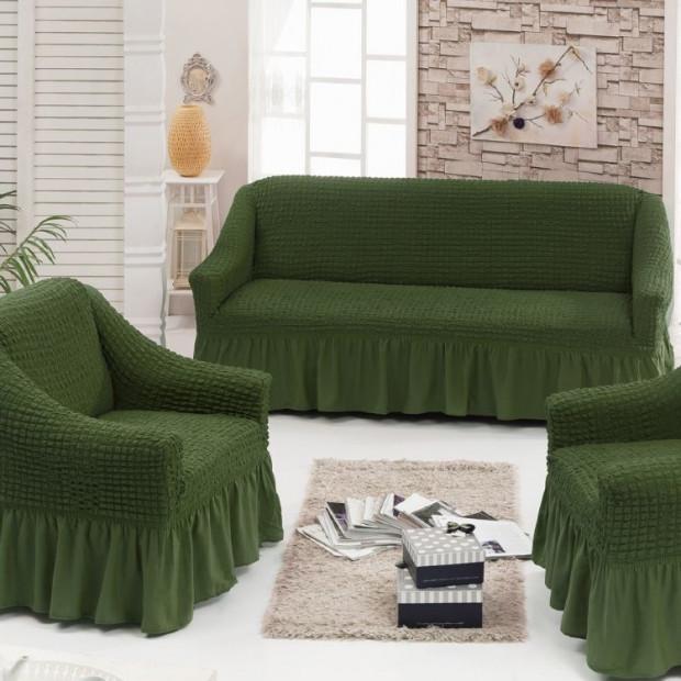 """Чехол на диван и 2 кресла """"Зеленый №222"""""""