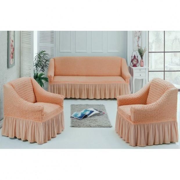 """Чехол на диван и 2 кресла """"Персиковый №227"""""""