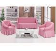 "Чехол на диван и 2 кресла ""Розовый №207"" - small"