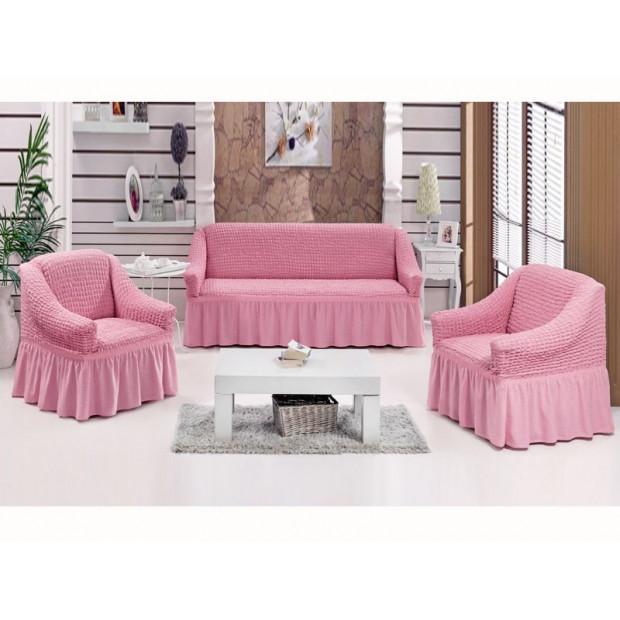 """Чехол на диван и 2 кресла """"Розовый №207"""""""