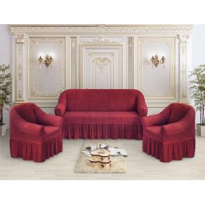 """Чехол на диван и 2 кресла премиум """"Бордовый"""""""