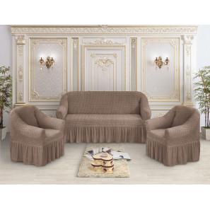 """Чехол на диван и 2 кресла премиум """"Серо-коричневый"""""""