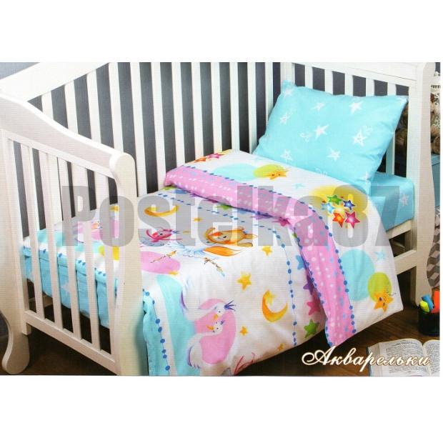 """Детское постельное белье на резинке в кроватку поплин """"Акварельки"""""""
