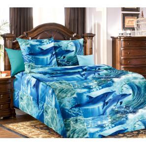 """Ткань бязь """"Дельфинарий"""" для постельного белья 150 см (оптом от 1 рулона)"""