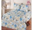 "Ткань бязь ""Лоскутная мозаика"" голубая  220 см (в розницу от 1 метра на отрез) - small"
