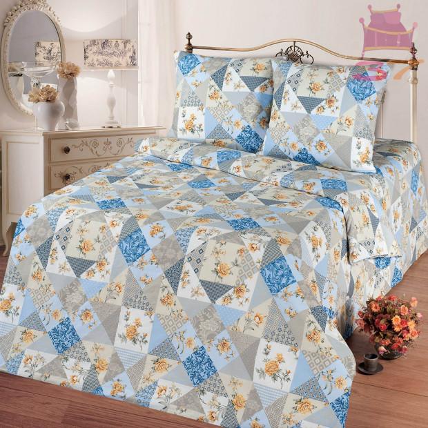 """Ткань бязь """"Лоскутная мозаика"""" голубая  220 см (в розницу от 1 метра на отрез)"""