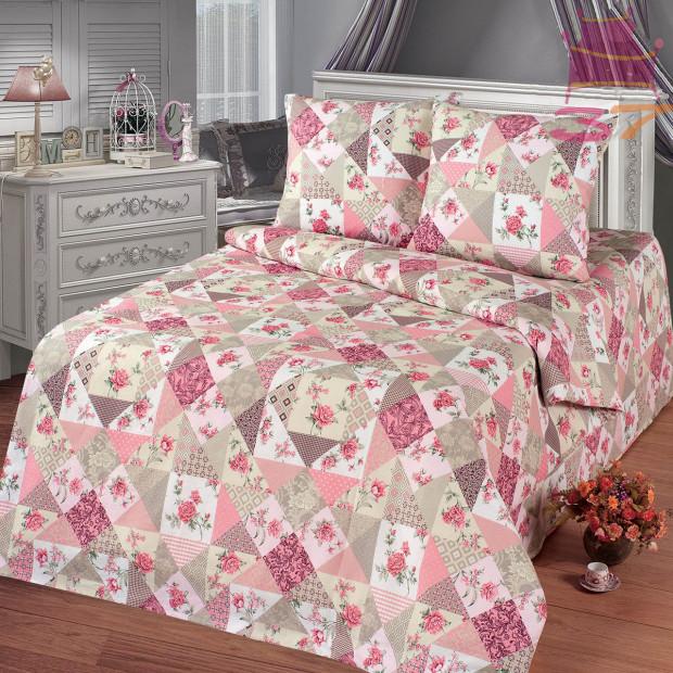 """Ткань бязь """"Лоскутная мозаика"""" розовая  220 см (оптом от 1 рулона)"""
