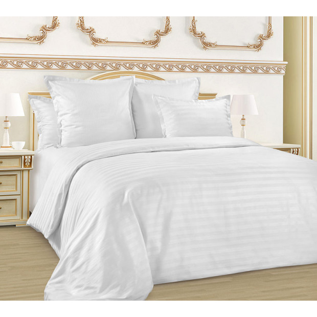 """Элитное постельное белье страйп-сатин 1х1 см """"Белый"""""""
