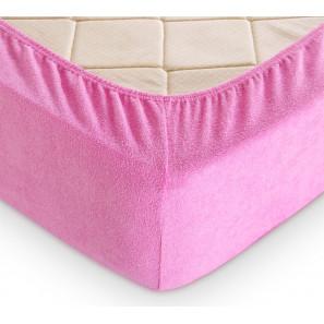 """Простыни на резинке 180х200 Махровая простыня на резинке """"Розовый"""""""