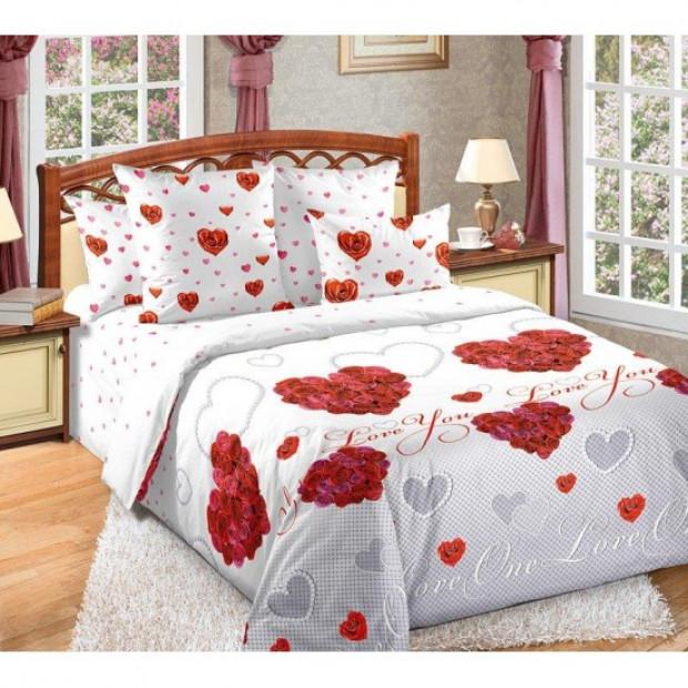 """Ткань перкаль """"Вечная любовь"""" для постельного белья (основа) 220 см (оптом от 1 рулона)"""