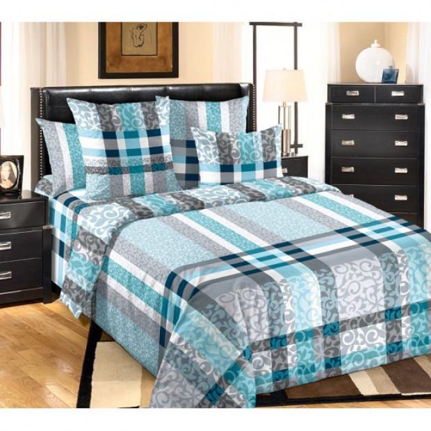 """Ткань перкаль """"Бруно"""" голубой для постельного белья 220 см (оптом от 1 рулона)"""