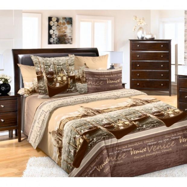 """Ткань перкаль """"Венеция"""" коричневый для постельного белья 220 см (оптом от 1 рулона)"""