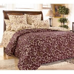 """Ткань перкаль """"Вензель"""" коричневый 220 см (компаньон) (в розницу от 1 метра на отрез)"""
