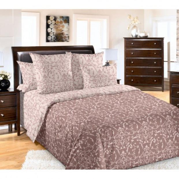 """Ткань перкаль """"Вирджиния"""" коричневый для постельного белья (компаньон) 220 см (оптом от 1 рулона)"""