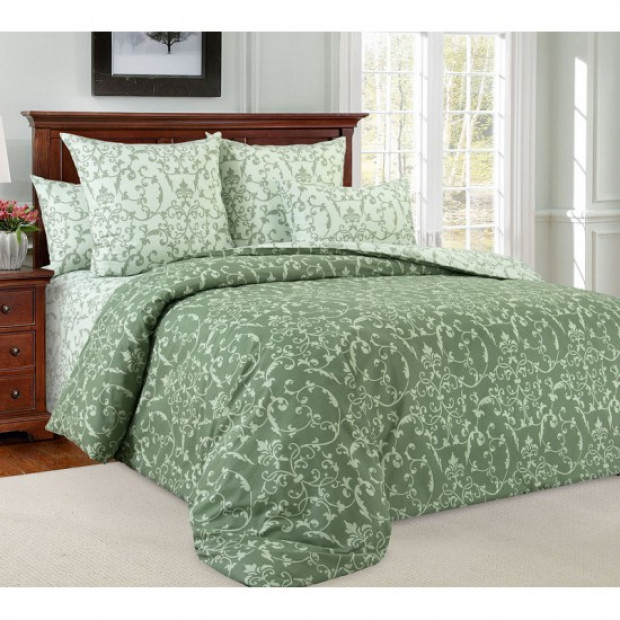 """Ткань перкаль """"Вирджиния"""" зеленый для постельного белья (компаньон) 220 см (оптом от 1 рулона)"""