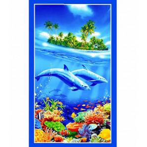 """Вафельное полотенце """"Дельфины"""" (банное)"""