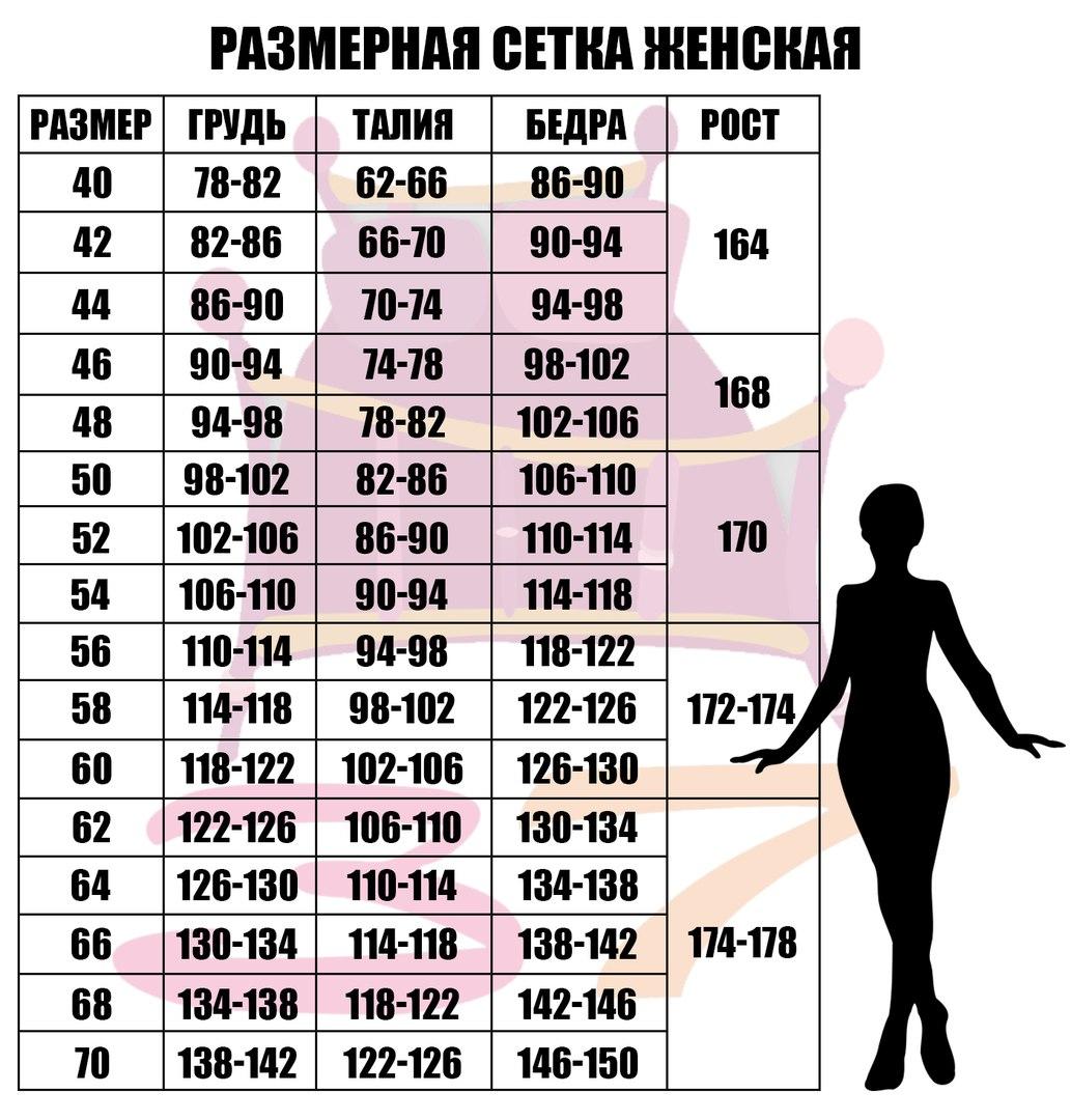 Размерная сетка женского трикотажа